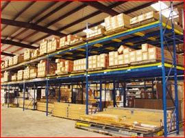 Bulk floor storage with backstock above